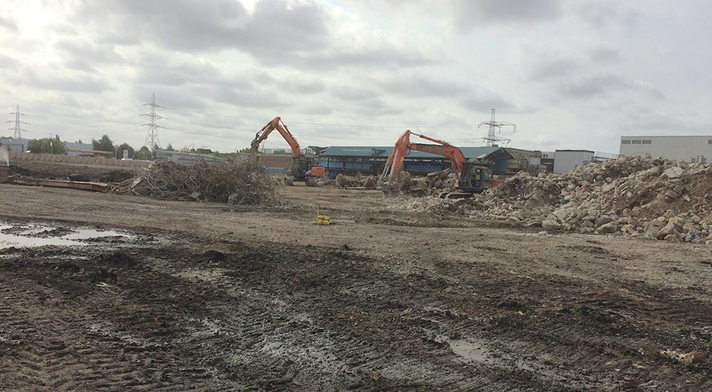 The site is almost cleared to start building our new stadium, September 2018.