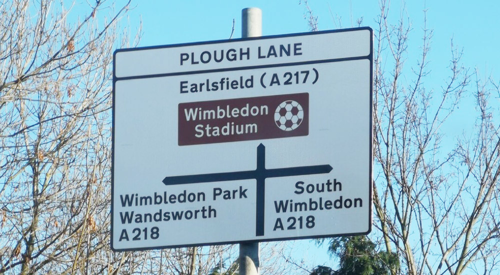 The Dons are coming home! New road sign on the approach to the site of our new stadium, December 2018.